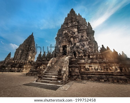 Prambanan Temple at sunset, Central Java, Indonesia. - stock photo