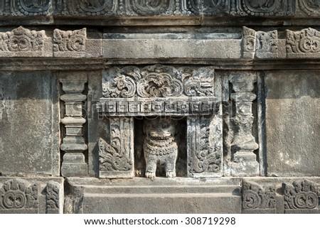 Prambanan Temple Detail in Yogyakarta, Indonesia - stock photo