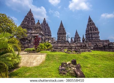Prambanan temple in Java - stock photo