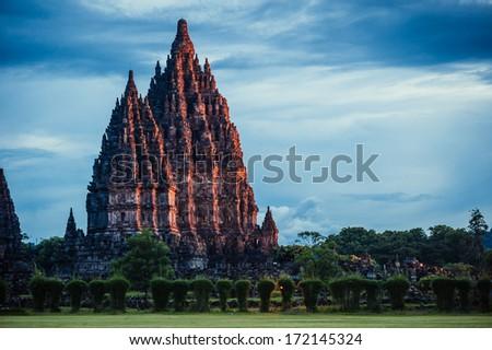 Prambanan Temple on sunset, Central Java, Indonesia - stock photo