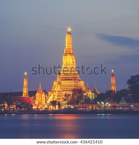 Prang of Wat Arun, Bangkok ,Thailand (Vintage filter effect used) - stock photo