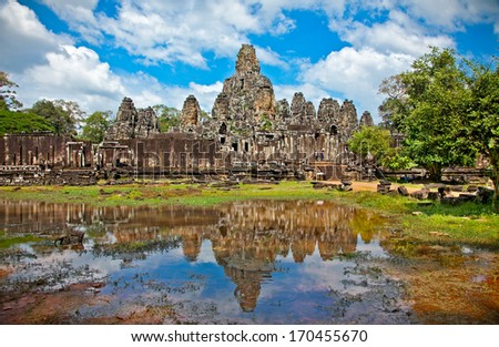 Prasat Bayon Temple in Angkor Thom, near Siem Reap, Cambodia - stock photo