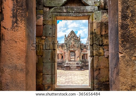 Prasat Hin Mueang Tam Hindu religious ruin located in Buri Ram Province Thailand, built around the 10th-12th century and used as a religious shrine in Hinduism. - stock photo