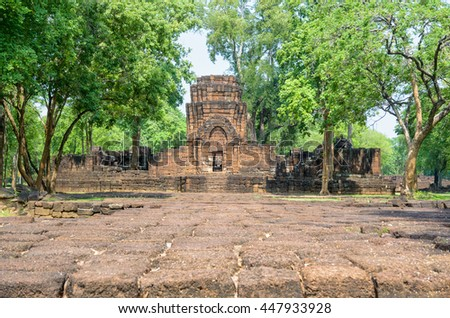 Prasat Mueang Sing Historical Park, Remains buildings of the ancient Khmer style temple attraction famous cultural in Sai Yok District, Kanchanaburi Province, Thailand - stock photo