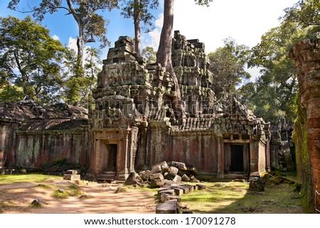 Prasat Ta Prum or Ta Prohm Temple complex, near Siem Reap, Cambodia. - stock photo