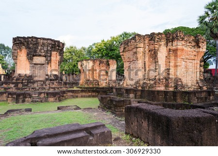 Prasat Wat Sa Kamphaeng Yai, Mahayana Buddhist temple, Sisaket, Thailand, Prasat Sra Kamphaeng Yai is historical places that have been popular in thailand. - stock photo