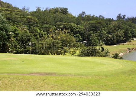 Praslin Island, Seychelles - March 10, 2015: Beautiful golf course at the Constance Lemuria Resort.