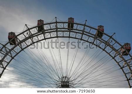 Prater - giant old ferris wheel in Vienna - stock photo