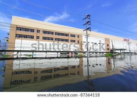 PRATHUMTHANI, THAILAND - OCT 23 : flooded street after flood disaster in Nava nakorn, Patumtana, Thailand on October 23, 2011.