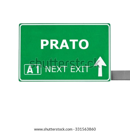 PRATO road sign isolated on white