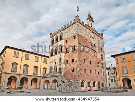 Prato, Tuscany, Italy - Historic palace Palazzo Pretorio that was the old city hall, located town center in the ancient square Piazza del Comune
