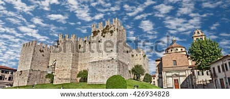 Prato, Tuscany, Italy: The medieval Castello dell'Imperatore (Emperor's castle), built in the thirteenth century for the emperor Frederick II, and the renaissance church Santa Maria delle Carceri