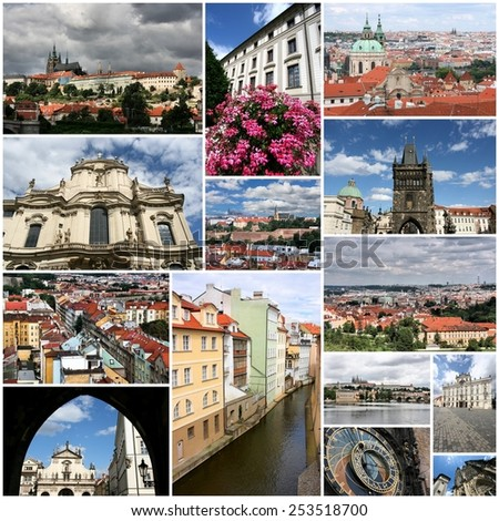 Prauge, Czech Republic travel photo collage. Collection includes major landmarks like Hradcany Castle, Charles Bridge and Astronomical Clock. - stock photo