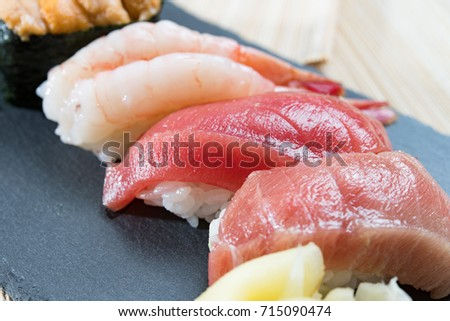 Prawn and tuna sushi.