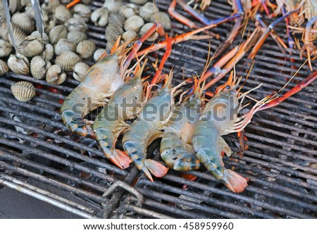 prawn grilled barbecued mixed seafood - stock photo