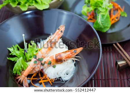 Prawn in vietnamese food on table top view