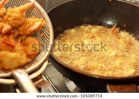 prawn meal preparation - stock photo
