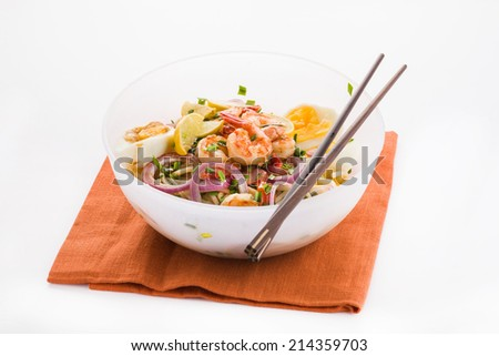 Prawn Noodles with eggs, lime, and onion