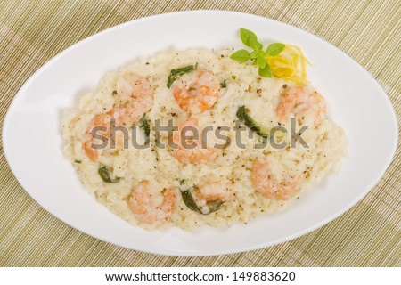 Prawn Risotto Bianco - King prawn risotto with creamy white wine sauce and courgette.