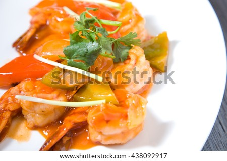 prawn with sweet acid asian szechuan sauce