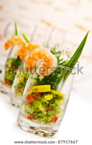 Prawns in the glass - stock photo