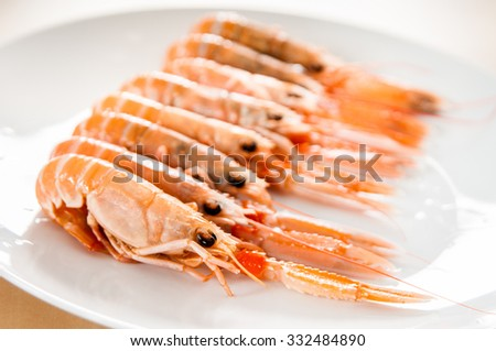 prawns on white ceramic dish