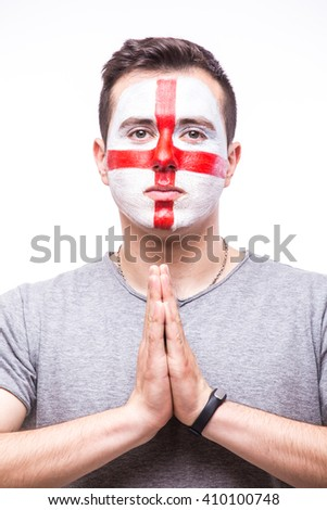 Pray for England. Englishman football fan pray for game England national team on white background. European football fans concept.
