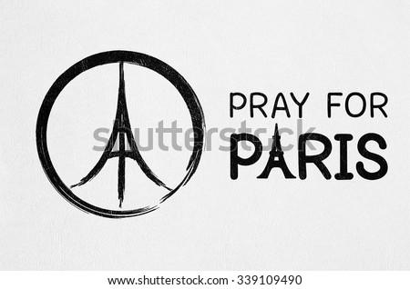 Pray Paris France Peace Symbol Drawing Stock Photo Royalty Free
