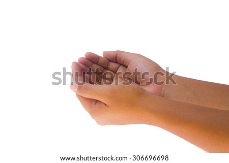 Pray for paris.Man hand hold some one or other isolated on white background. Male hand showing empty space for your choice