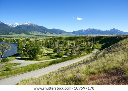 Pray, Montana near Livingstone - Yellowstone River Valley and Gallatin National Forest. Scenic Montana Photo Collection. - stock photo