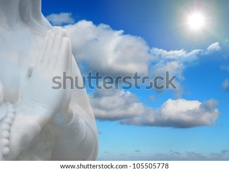 prayer and sun rays abstract religion background - stock photo