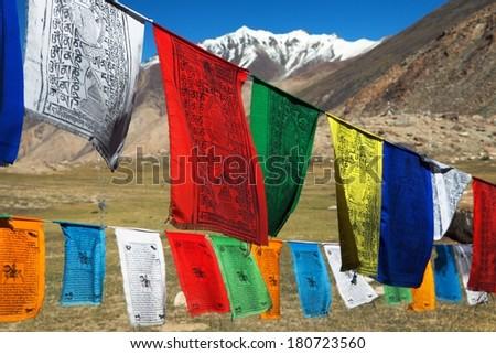 Prayer flags with stupas - Himachal Pradesh - India  - stock photo