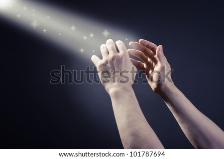 Prayer raised hands - stock photo