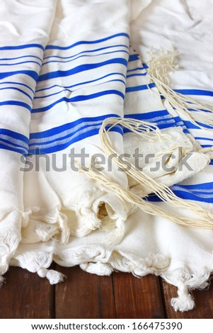 Prayer Shawl - Tallit, jewish religious symbol   - stock photo