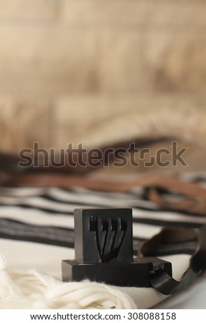 Prayer Shawl - Tallit, Tefilin and shofar  - Jewish prayer objects  - stock photo