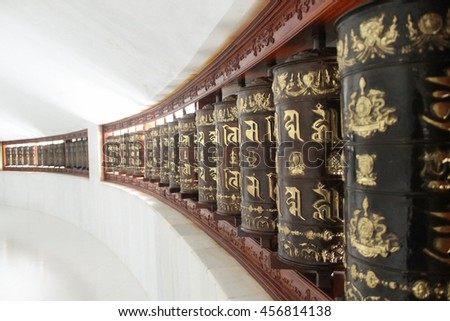 Prayer wheels in a Buddhist stupa, Vinh Phuc Province, Vietnam