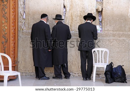 Prayers at the Western Wall in Jerusalem.Israel - stock photo