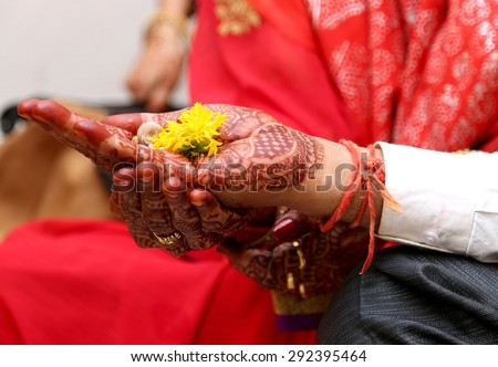 prayers to the god almighty for all being well, by the parents at the occasion of the wedding of their daughter - stock photo