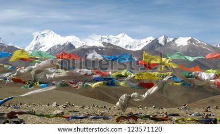 praying flags high on the tibetan plateau in the himalayan mountains of Tibet