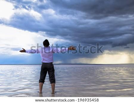 Praying for rain - stock photo