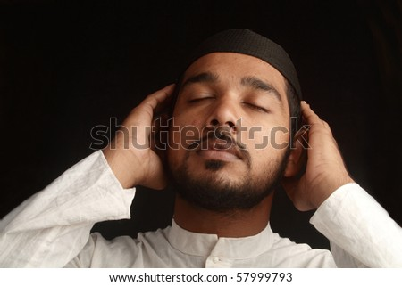 Praying gestures of a Muslim