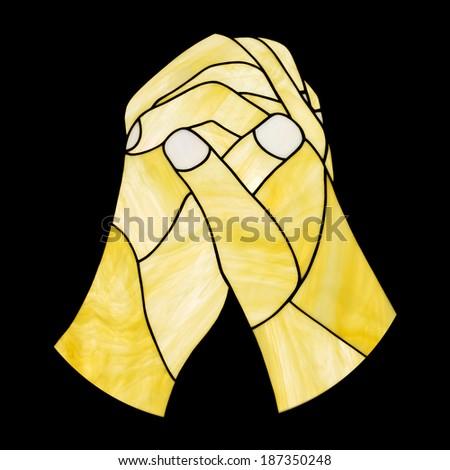 praying hand isolated on black background - stock photo