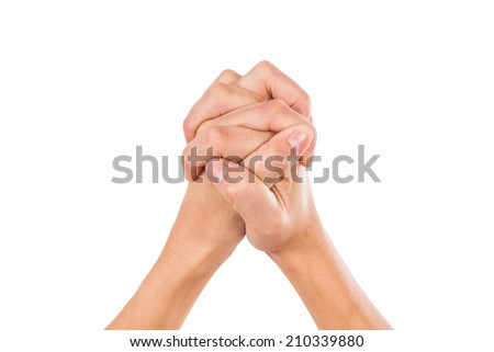 Praying - Hands clasped together for a prayer - stock photo