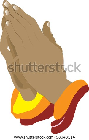 Praying Hands Icon, Illustration, also available in vector format. - stock photo