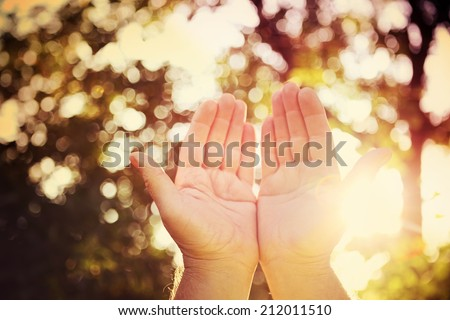 Praying hands.  Instagram effect - stock photo