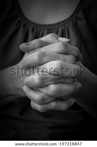 Praying Hands, old woman hands