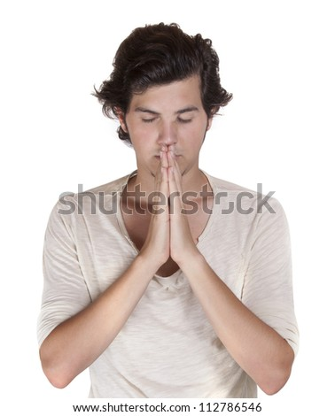 Praying male isolated on white background