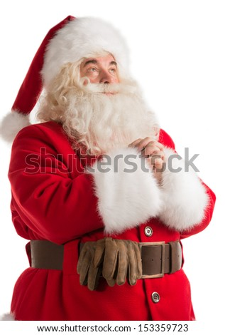 Praying Santa Claus portrait isolated over a white background