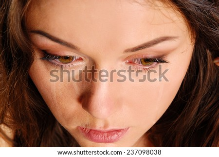 Praying woman in deprassion - stock photo
