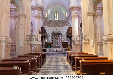 PRCANJ, MONTENEGRO - JULY 23, 2015: The Catholic Church of the Birth of the Virgin Mary in Prcanj, Montenegro, on July 23, 2015 - stock photo